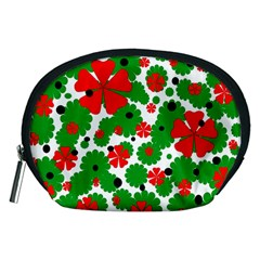 Red and green Christmas design  Accessory Pouches (Medium)