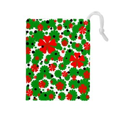 Red and green Christmas design  Drawstring Pouches (Large)
