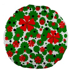 Red and green Christmas design  Large 18  Premium Flano Round Cushions