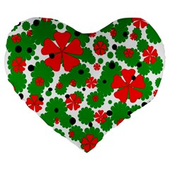 Red and green Christmas design  Large 19  Premium Flano Heart Shape Cushions