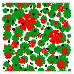 Red and green Christmas design  Large Satin Scarf (Square)