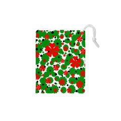 Red and green Christmas design  Drawstring Pouches (XS)