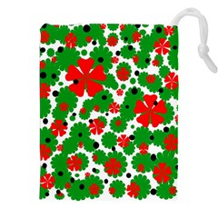 Red and green Christmas design  Drawstring Pouches (XXL)