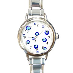 Mediterranean blue eyes Round Italian Charm Watch