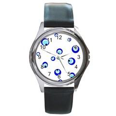 Mediterranean blue eyes Round Metal Watch