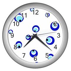 Mediterranean blue eyes Wall Clocks (Silver)