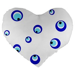 Mediterranean blue eyes Large 19  Premium Heart Shape Cushions