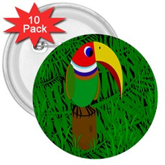 Toucan 3  Buttons (10 pack)