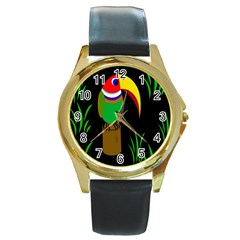 Toucan Round Gold Metal Watch
