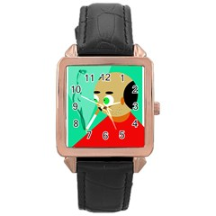 Smoker  Rose Gold Leather Watch