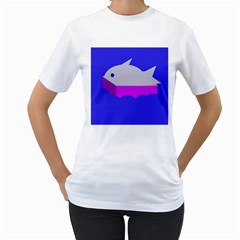 Big fish Women s T-Shirt (White) (Two Sided)