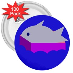 Big Fish 3  Buttons (100 Pack)