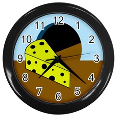 Cheese  Wall Clocks (black)