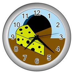 Cheese  Wall Clocks (silver)