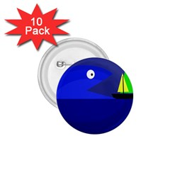 Blue monster fish 1.75  Buttons (10 pack)