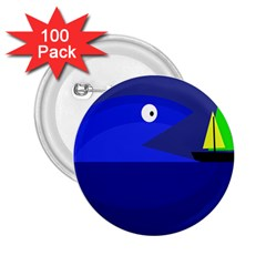 Blue monster fish 2.25  Buttons (100 pack)
