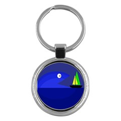 Blue monster fish Key Chains (Round)