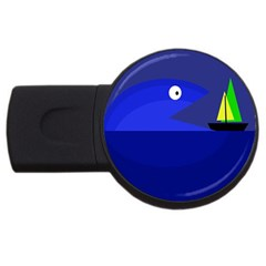 Blue monster fish USB Flash Drive Round (1 GB)