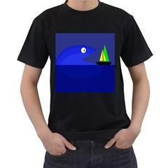 Blue monster fish Men s T-Shirt (Black) (Two Sided)