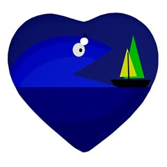 Blue monster fish Heart Ornament (2 Sides)