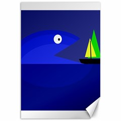 Blue monster fish Canvas 12  x 18