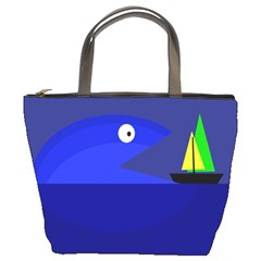 Blue monster fish Bucket Bags