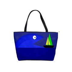 Blue monster fish Shoulder Handbags