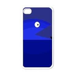 Blue monster fish Apple iPhone 4 Case (White)