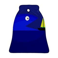 Blue monster fish Bell Ornament (2 Sides)