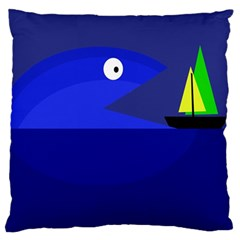 Blue monster fish Large Cushion Case (One Side)