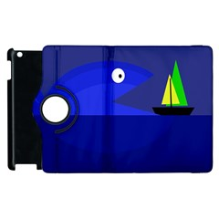 Blue monster fish Apple iPad 3/4 Flip 360 Case
