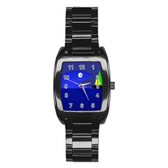 Blue monster fish Stainless Steel Barrel Watch