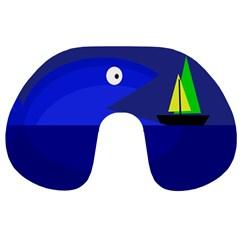Blue monster fish Travel Neck Pillows