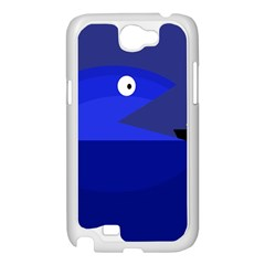 Blue monster fish Samsung Galaxy Note 2 Case (White)