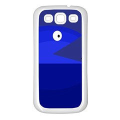 Blue monster fish Samsung Galaxy S3 Back Case (White)