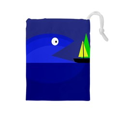 Blue monster fish Drawstring Pouches (Large)