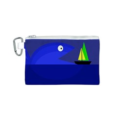 Blue monster fish Canvas Cosmetic Bag (S)