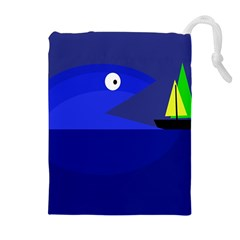 Blue monster fish Drawstring Pouches (Extra Large)