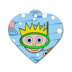 Diver Dog Tag Heart (One Side)