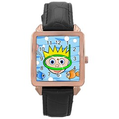 Diver Rose Gold Leather Watch