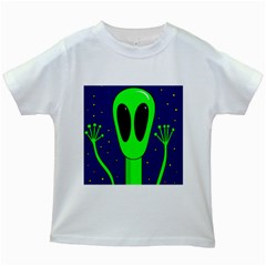 Alien  Kids White T Shirts