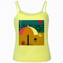 On the beach  Yellow Spaghetti Tank