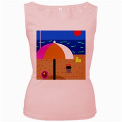 On the beach  Women s Pink Tank Top