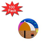 On the beach  1  Mini Magnets (100 pack)