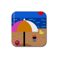 On the beach  Rubber Square Coaster (4 pack)