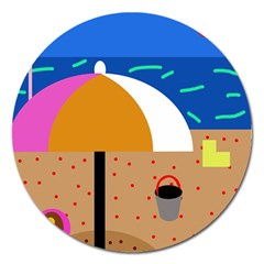 On The Beach  Magnet 5  (round)