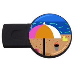 On the beach  USB Flash Drive Round (1 GB)