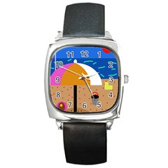 On the beach  Square Metal Watch