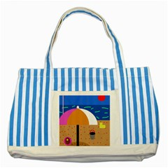 On the beach  Striped Blue Tote Bag