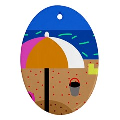 On the beach  Oval Ornament (Two Sides)
